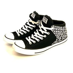 CONVERSE Mid Top Black With White Logo Sneaker